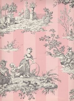 Pink and gray toile...would be lovely in a baby girl's bedroom....