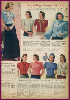 History of vintage sweater styles from the 1950 and called the Golden Years of knitting. Where to buy vintage patterns and repro new sweaters. 1940s Outfits, 1940s Dresses, Vintage Outfits, Vintage Dress, Vintage Clothing, Women's Clothing, 1940s Fashion, Vintage Fashion, Jumper