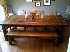Farmhouse table with bench. Perfect dinning room table for my medium sized family. I love this bench and table!!!
