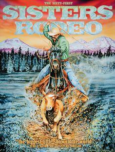 Calf Roping  2001 Sisters Rodeo Poster