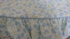 Twin Size Flat & Fitted Sheets Martha Stewart.Blue Tulips with ruffled edge,flat #MarthaStewart