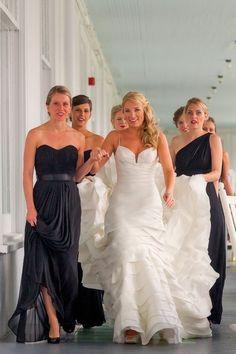 Black bridesmaid dresses just look elegant! So glad my girls will be wearing black!