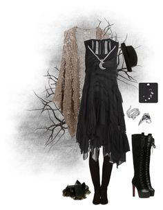 """""""it's not love, but I'm still scared"""" by maia-stardust ❤ liked on Polyvore featuring Tamara Mellon, Mes Demoiselles..., AllSaints, Effy Jewelry, KC Designs, Dark, stevienicks and witchy"""