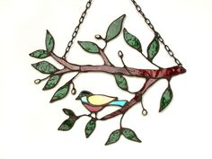 Twig  -  stained glass with freshwater pearls -  Made To Order. via Etsy.