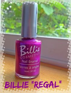 """Billie Cosmetics Nail Enamel """"Regal"""" -Really nice color -Goes on sheer but not too sheer -2 to 3 coats  -Good formula, easy to apply. Dries very fast."""
