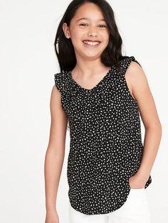 007203428 Old Navy Girls' Printed Ruffled V-Neck Slub-Knit Tops Black Cheetah Print
