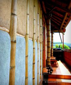 Guadua bamboo and adobe wall