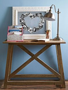 Take those old photos out of storage and create a meaningful piece of art you can proudly display. Cut and secure adhesive magnetic strips to the back of each photo, then arrange the images in a graphic shape, such as a heart, on a galvanized metal canvas. Slip the metal into an ornate vintage frame for a romantic finish./