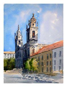 Basílica da Estrela, Lisboa - Portugal Barcelona Cathedral, Watercolor, Building, Travel, Water Colors, Lisbon Portugal, Star, Art, Pintura