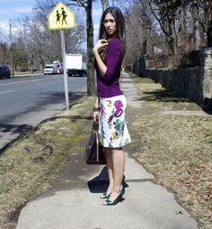 @Vinod Pillai York & Company cardigan and floral skirt