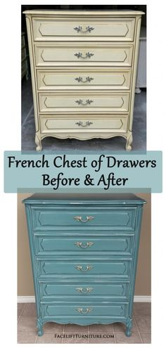 Sea Blue French Chest of Drawers ~ Before & After. Find more painted, glazed & distressed inspiration on our Pinterest boards, or on the Facelift Furniture DIY blog.