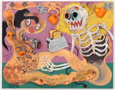 Aaron Johnson - Coffee and Toast, 32.5x42.5 inches, acrylic and socks on canvas