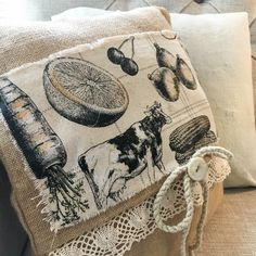 Canvas Corp's Farmhouse Kitchen canvas looks great sewn onto their burlap pillow. Add a touch of lace, a button, and some cord and it's just perfect rustic chic! Burlap Pillows, Decorative Pillows, Diy Kitchen Projects, Kitchen Canvas, Fresh Farmhouse, Rustic Chic, Creative Studio, Reusable Tote Bags, Sewing