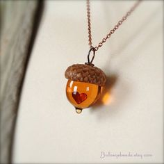 Glass Acorn Necklace  a Mini Valentine Heart in by bullseyebeads, $26.00