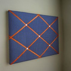 Navy Blue & Orange Gingham 16x20 Memory Board Bow by MemoriestoYou, $68.00