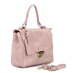 Yoins Pink Leather-look Handbag with twin roomy compartments Design (€39) ❤ liked on Polyvore featuring bags, handbags, hand bags, handbag purse, purse bag, synthetic leather handbag and vegan purses