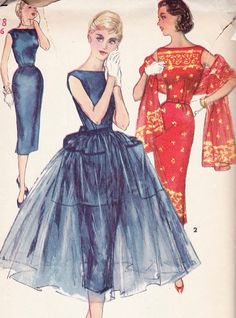 Vintage 50's Simplicity Pattern Misses Wiggle Dress by SewIndigo, $20.00