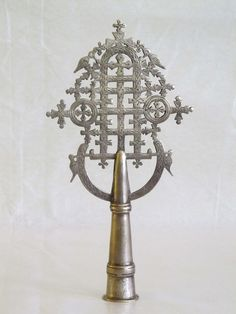 Ethiopian Processional Cross, Embellished with Ge'ez Script at the Handle
