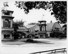 """Roller coaster entrance at Ramona Park, EGR - c. 1940  The vault-roofed building was relocated & later purchased by my stepfather (Tom Reges), who turned it into a music venue. Ever heard of """"The Place""""? Long time ago. I was just a kid."""