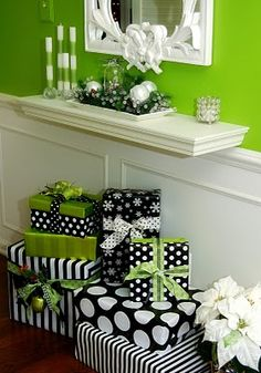 Love this Decor...black, white and green Christmas decor - hmmmm maybe i can mix it up from the blue white silver we have going on? But im thinking black white silver blue pink?? Might have to play with ideas!