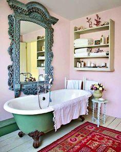 Oversized mirror over bath