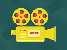 Movie Camera illustration for a potential film customer. Designed in illustrator. Reel. Yellow. Design.