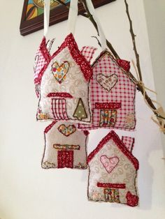 Country Cottages, about 10 x 12 cm, lightly padded and all hand stitched. 6 pounds each + postage