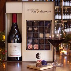 How to thrill a Pinot lover this Christmas:    1) Call the La Crema Tasting Room: (707) 431-9400.   2) Order this spectacular gift box set: The La Crema wine of your choice and 20 artisan chocolates designed to pair perfectly with Pinot Noir.    3) Hang up the phone and give yourself a high-five.