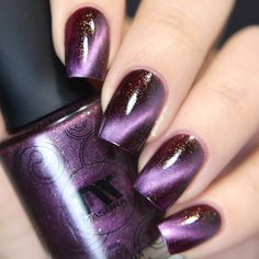 A stunning purple-pink jelly magnetic polish that shows a pearlescent hue and filled with gold and purple shimmer to take your nails to cloud 9. Collection: Galaxy Collection Stunning nails by yagala, sveta_sanders, glitterfingersss, and nailtalk