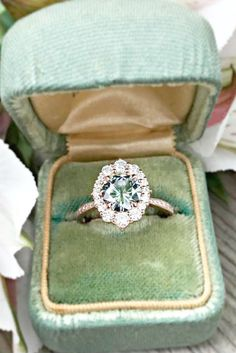 Check this out - Green Sapphire Engagement Ring Rose Gold xx