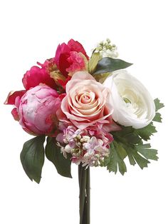 Rose, Ranunculus, and Peony Wedding Silk Bouquet in Fuchsia, Pink, and Cream