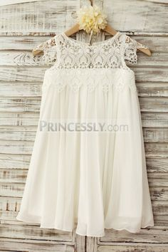Boho Beach Lace Cap Sleeves Ivory Chiffon Flower Girl Dress