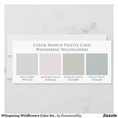 Shop Whispering Wildflowers Color Swatch Palette Card created by ForestandSky. Bedroom Wall Colors, Paint Colors For Living Room, Paint Colors For Home, Calming Bedroom Colors, Calming Paint Colors, Colors For Bathroom Walls, Gray Wall Colors, Neutral Bathroom Colors, Best Wall Colors