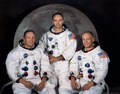 Neil Armstrong, Michael Collins and Buzz Aldrin - the 3 NASA Astronauts who on 7-16 in 1969, blasted off to the moon to become the first men who would land on the moon.