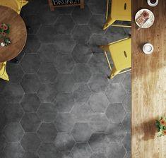 Bathroom Floor Tiles, Wall Tiles, Tile Floor, Black Hexagon Tile, Hexagon Tiles, Modern Kitchen Tiles, Floor Finishes, Tile Design, Urban