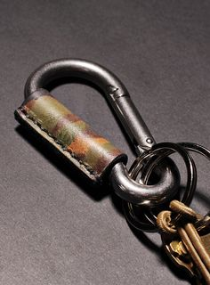 Distressed Camo Leather Carabiner Keychain - WE ARE ALL SMITH
