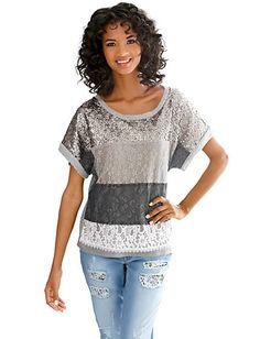Oversized-Shirt mit Pailletten und Spitze