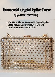 474 hand placed Swarovski Crystal Spikes on a clear acrylic box purse with gold tone hardware + chain Diy Purse, Clutch Purse, Acrylic Box, Clear Acrylic, Ladies Accessories, Fashion Accessories, Cute Jewelry, Diy Jewelry, Fashion Handbags