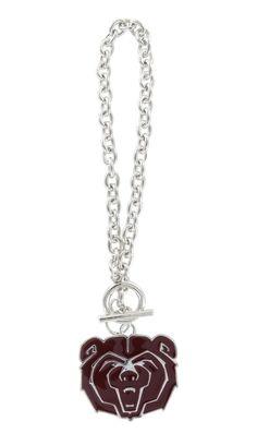 Maroon Enamel Missouri State Bears Logo Toggle Chain Bracelet