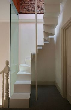 Floating Loft Staircase I love how its so simple, has clean lines and totally space saving! Space Saving Orange Spiral Staircase Staircases are often known to take up a lot of sqf in the house and …