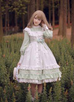 Sakura In Spring~ Lolita Fullset [--OP Dress + Embroidery Waist Belt + Triangular Scarf + Pinafore--] Harajuku Fashion, Kawaii Fashion, Lolita Fashion, Cute Fashion, Vintage Fashion, Rock Fashion, Fashion Styles, Fashion Boots, Estilo Lolita