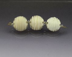 Set ivory beads lampwork glass lentil beads by AnneLondezGlass, $25.00