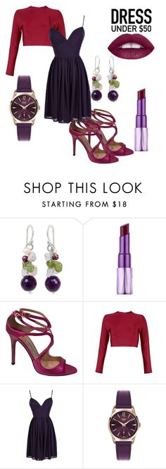 """""""Berry Kiss"""" by clairelennon ❤ liked on Polyvore featuring NOVICA, Urban Decay, Jimmy Choo, Henry London and Dressunder50"""