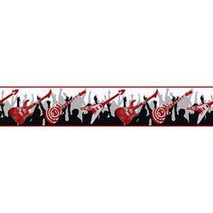 Boys Will Be Boys Guitar Border-white/red/black/silver metallic ZB3120B