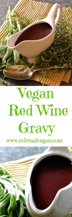 Extra tasty, rich & flavoursome red wine vegan gravy, infused with onion & fresh herb flavour and perfect for serving with your holiday feast!