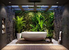 Home Room Design, Home Interior Design, Interior Architecture, Outdoor Bathrooms, Dream Bathrooms, Tropical Bathroom, Toilet Design, Bathroom Design Luxury, House Rooms