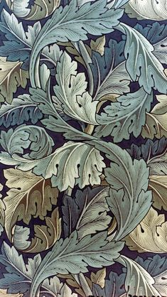 William Morris, acanthus leaf wallpaper by kerrianndrylee. William Morris Wallpaper, William Morris Art, Morris Wallpapers, William Morris Patterns, Jugendstil Design, Art Chinois, Art Japonais, Pre Raphaelite, Motif Floral