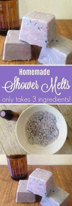 This shower melts recipe is an easy DIY using simple ingredients at home. If you are curious how to use essential oils in the shower this shower melts DIY is a great recipe to try! Bath Bomb Recipes, Soap Recipes, Homemade Beauty, Homemade Gifts, Diy Peeling, Shower Steamers, Shower Bombs, Bath Melts, Diy Shower