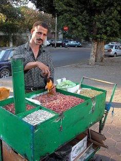 selling roasted peanuts, Cairo, Egypt