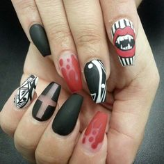 Halloween  Halloween nails Vampire nails Bloody nail art Vampire teeth Nail art Nail designs